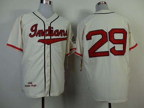Mitchell and Ness 1948 Indians #29 Satchel Paige Cream Throwback Stitched MLB Jersey