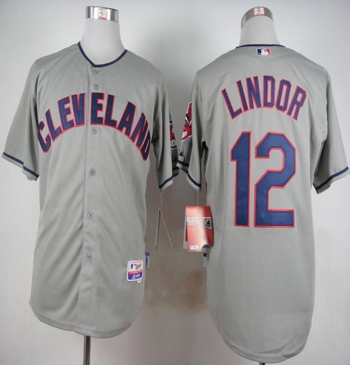 Indians #12 Francisco Lindor Grey Cool Base Stitched MLB Jersey