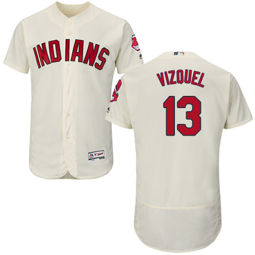 Indians #13 Omar Vizquel Cream Flexbase Authentic Collection Stitched MLB Jersey