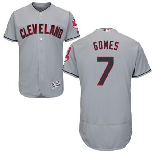 Indians #7 Yan Gomes Grey Flexbase Authentic Collection Stitched MLB Jersey