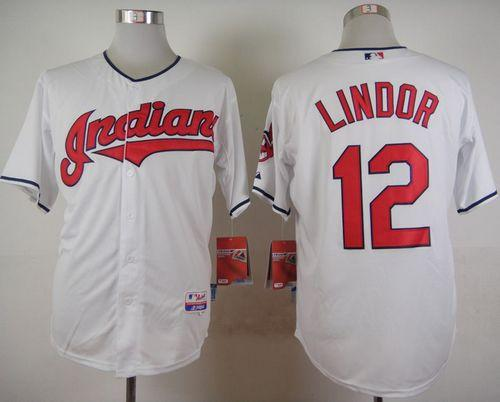Indians #12 Francisco Lindor White Cool Base Stitched MLB Jersey