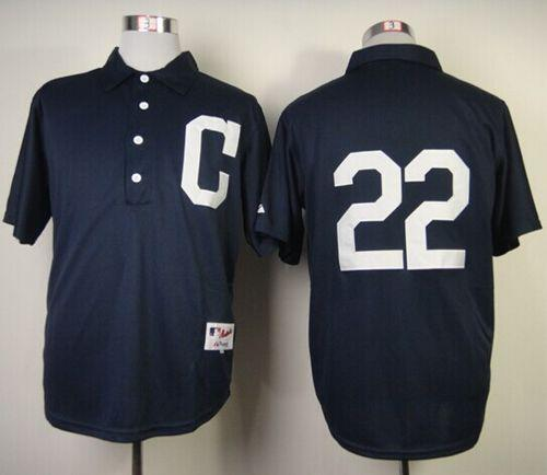 Indians #22 Jason Kipnis Navy Blue 1902 Turn Back The Clock Stitched MLB Jersey