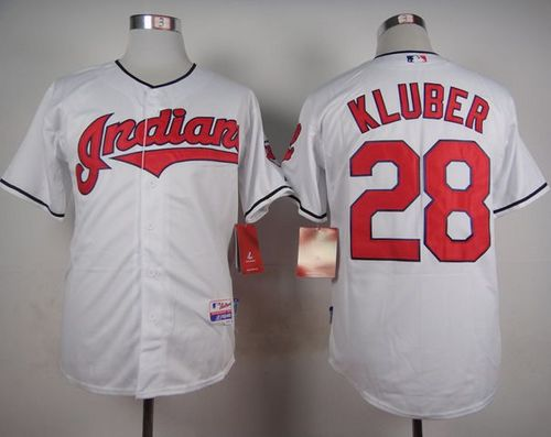 Indians #28 Corey Kluber White Cool Base Stitched MLB Jersey