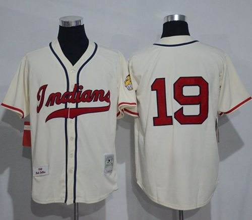 Mitchell And Ness 1948 Indians #19 Bob Feller Cream Stitched Throwback MLB Jersey