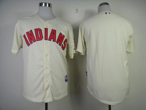 Indians Blank Cream Cool Base Stitched MLB Jersey
