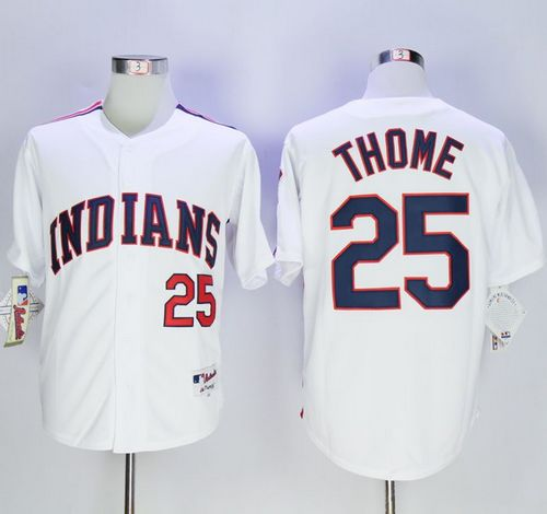 Indians #25 Jim Thome White 1978 Turn Back The Clock Stitched MLB Jersey