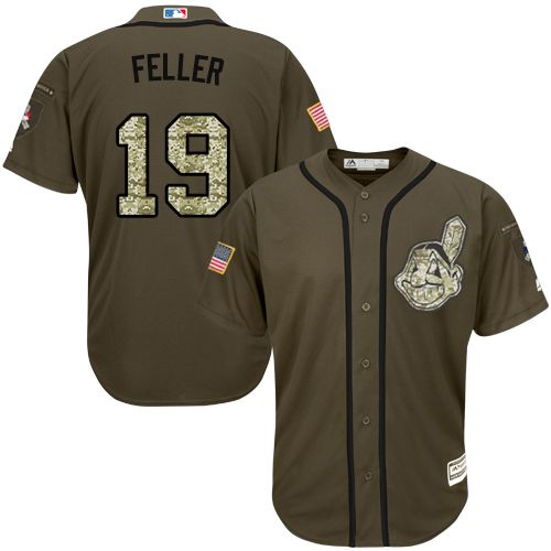 Indians #19 Bob Feller Green Salute to Service Stitched MLB Jersey