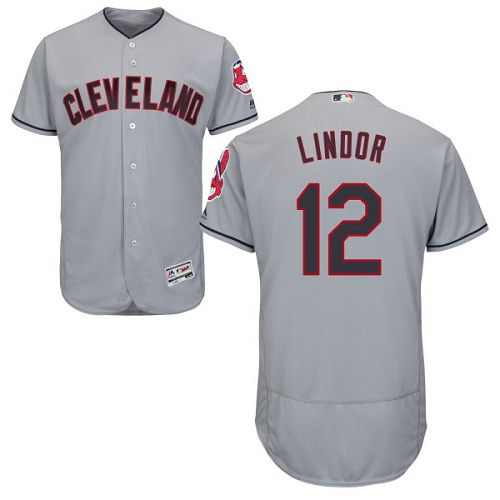 Indians #12 Francisco Lindor Grey Flexbase Authentic Collection Stitched MLB Jersey