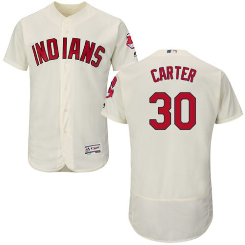 Indians #30 Joe Carter Cream Flexbase Authentic Collection Stitched MLB Jersey