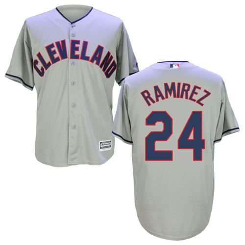Indians #24 Manny Ramirez Grey New Cool Base Stitched MLB Jersey