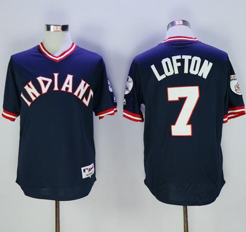 Indians #7 Kenny Lofton Navy Blue 1976 Turn Back The Clock Stitched MLB Jersey