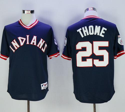 Indians #25 Jim Thome Navy Blue 1976 Turn Back The Clock Stitched MLB Jersey