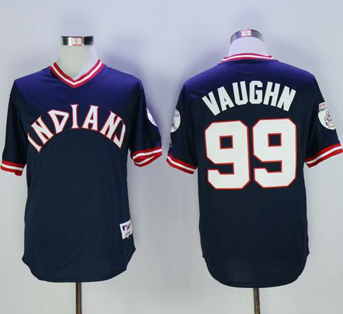 Indians #99 Ricky Vaughn Navy Blue 1976 Turn Back The Clock Stitched MLB Jersey