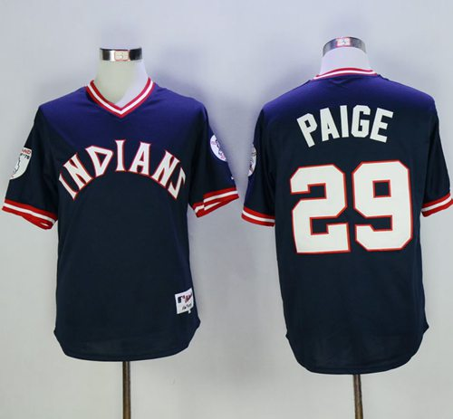 Indians #29 Satchel Paige Navy Blue 1976 Turn Back The Clock Stitched MLB Jersey