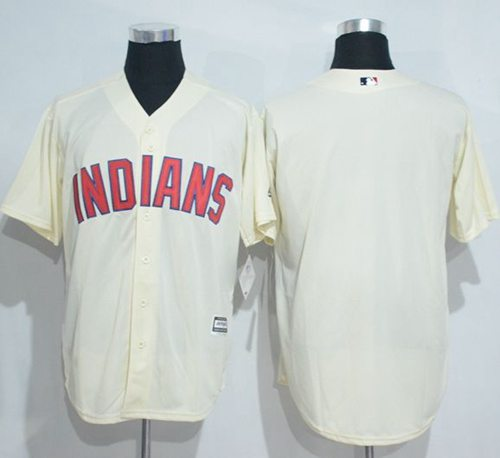 Indians Blank Cream New Cool Base Stitched MLB Jersey