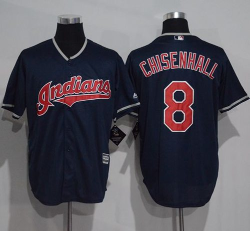 Indians #8 Lonnie Chisenhall Navy Blue New Cool Base Stitched MLB Jersey