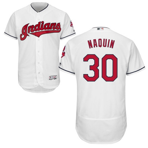 Indians #30 Tyler Naquin White Flexbase Authentic Collection Stitched MLB Jersey