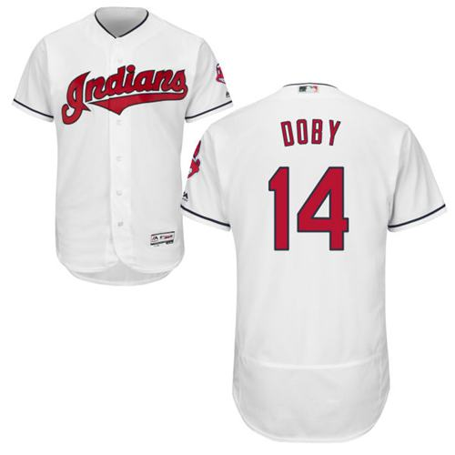 Indians #14 Larry Doby White Flexbase Authentic Collection Stitched MLB Jersey