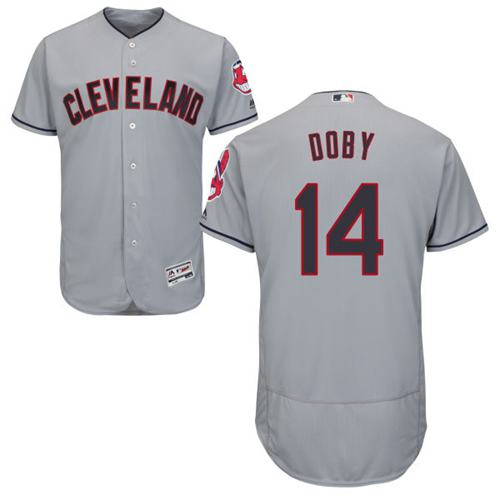 Indians #14 Larry Doby Grey Flexbase Authentic Collection Stitched MLB Jersey