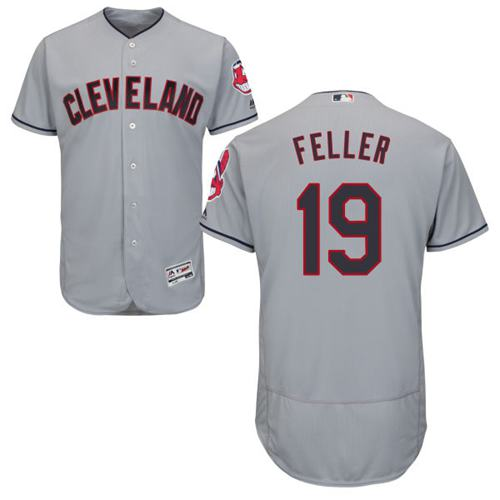 Indians #19 Bob Feller Grey Flexbase Authentic Collection Stitched MLB Jersey