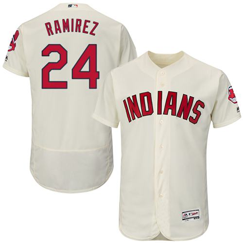 Indians #24 Manny Ramirez Cream Flexbase Authentic Collection Stitched MLB Jersey