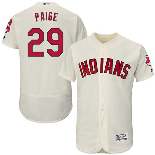 Indians #29 Satchel Paige Cream Flexbase Authentic Collection Stitched MLB Jersey
