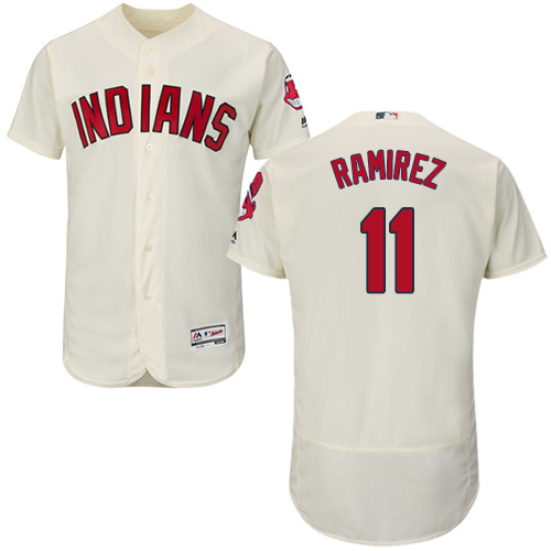 Indians #11 Jose Ramirez Cream Flexbase Authentic Collection Stitched MLB Jersey
