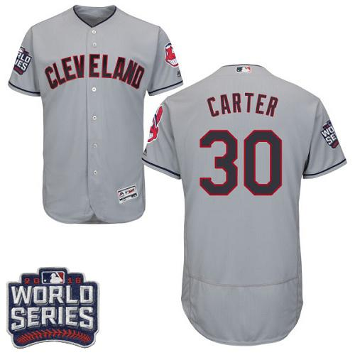Indians #30 Joe Carter Grey Flexbase Authentic Collection 2016 World Series Bound Stitched MLB Jersey