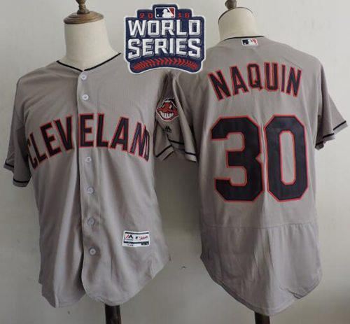 Indians #30 Tyler Naquin Grey Flexbase Authentic Collection 2016 World Series Bound Stitched MLB Jersey
