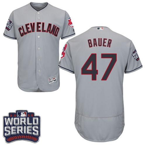 Indians #47 Trevor Bauer Grey Flexbase Authentic Collection 2016 World Series Bound Stitched MLB Jersey