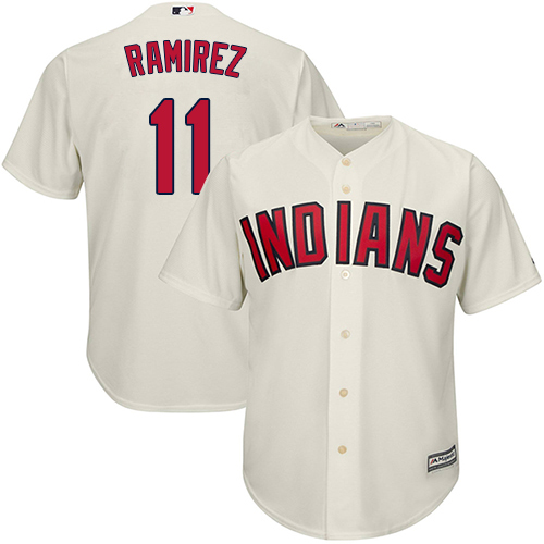 Indians #11 Jose Ramirez Cream New Cool Base Stitched MLB Jersey