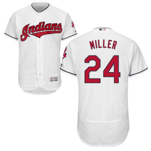 Indians #24 Andrew Miller White Flexbase Authentic Collection Stitched MLB Jersey