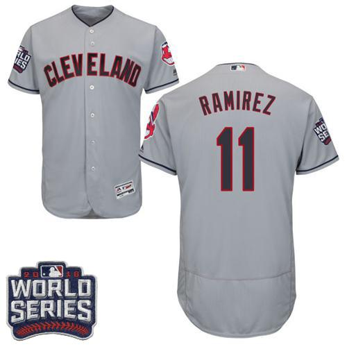 Indians #11 Jose Ramirez Grey Flexbase Authentic Collection 2016 World Series Bound Stitched MLB Jersey