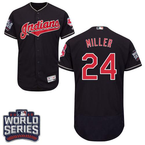 Indians #24 Andrew Miller Navy Blue Flexbase Authentic Collection 2016 World Series Bound Stitched MLB Jersey