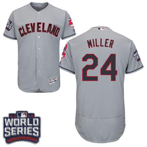 Indians #24 Andrew Miller Grey Flexbase Authentic Collection 2016 World Series Bound Stitched MLB Jersey