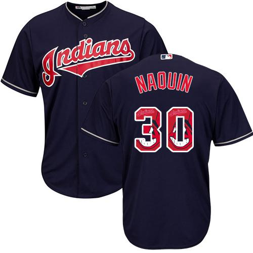 Indians #30 Tyler Naquin Navy Blue Team Logo Fashion Stitched MLB Jersey