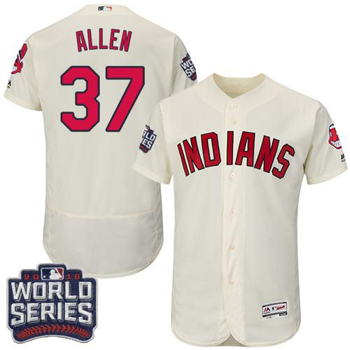 Indians #37 Cody Allen Cream Flexbase Authentic Collection 2016 World Series Bound Stitched MLB Jersey