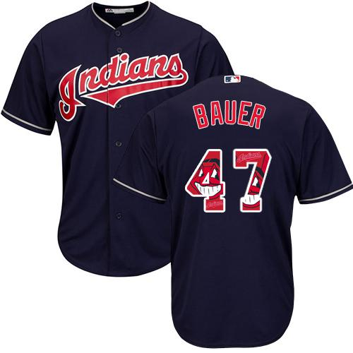 Indians #47 Trevor Bauer Navy Blue Team Logo Fashion Stitched MLB Jersey