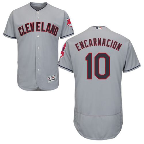 Indians #10 Edwin Encarnacion Grey Flexbase Authentic Collection Stitched MLB Jersey