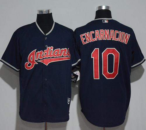 Indians #10 Edwin Encarnacion Navy Blue New Cool Base Stitched MLB Jersey