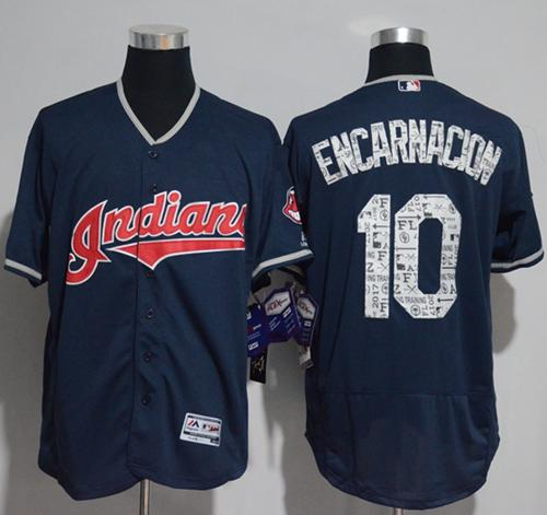 Indians #10 Edwin Encarnacion Navy Blue Spring Training Authentic Flex Base Stitched MLB Jersey