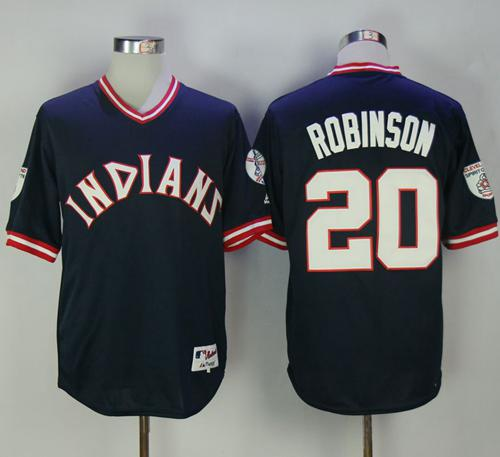 Indians #20 Eddie Robinson Navy Blue 1976 Turn Back The Clock Stitched MLB Jersey