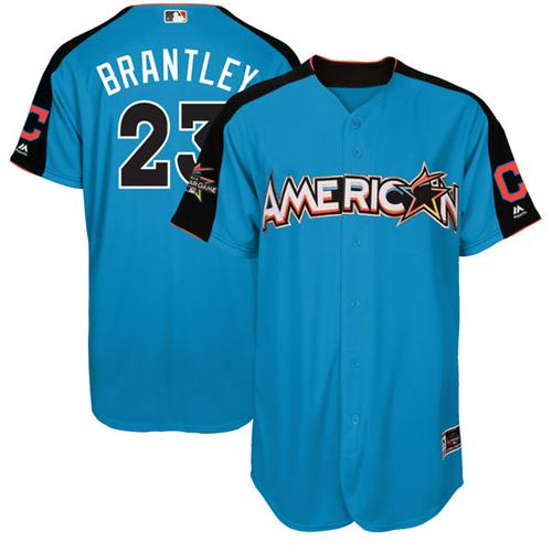 Indians #23 Michael Brantley Blue All-Star American League Stitched MLB Jersey