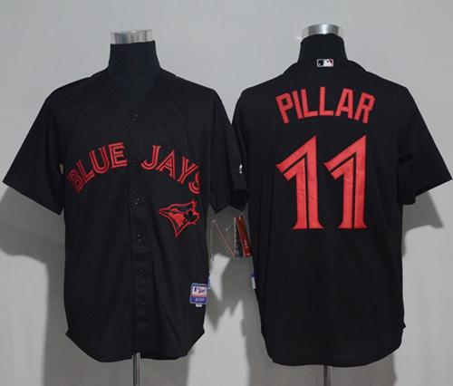 Blue Jays #11 Kevin Pillar Black Strip Stitched MLB Jersey