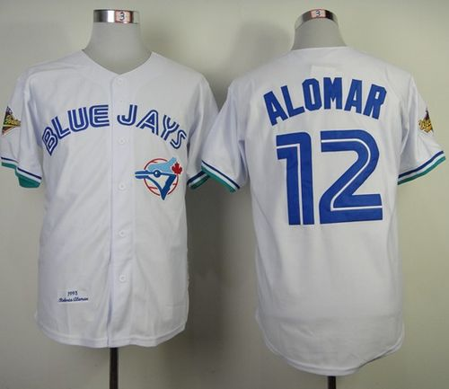 Mitchell And Ness 1993 Blue Jays #12 Roberto Alomar White Throwback Stitched MLB Jersey