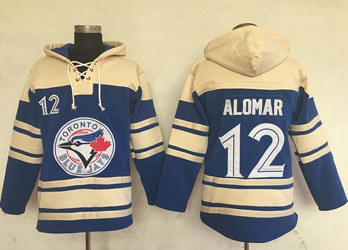 Blue Jays #12 Roberto Alomar Blue Sawyer Hooded Sweatshirt MLB Hoodie