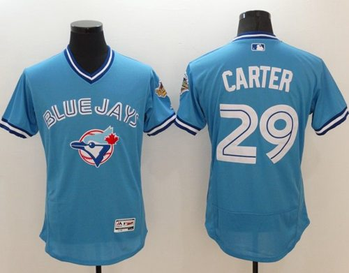 Blue Jays #29 Joe Carter Light Blue Flexbase Authentic Collection Cooperstown Stitched MLB Jersey