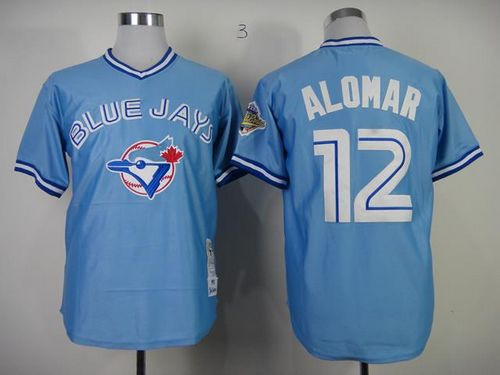 Mitchell And Ness 1993 Blue Jays #12 Roberto Alomar Blue Stitched MLB Throwback Jersey