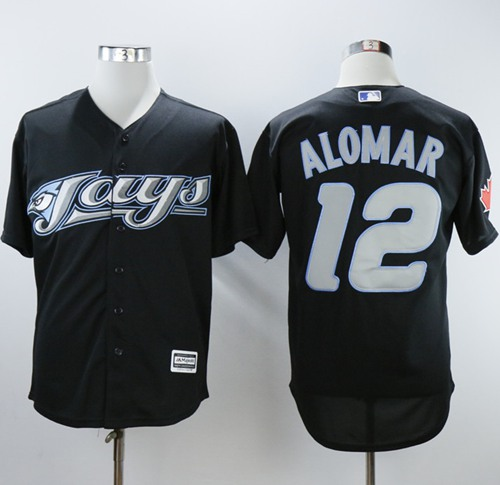 Blue Jays #12 Roberto Alomar Black 2008 Turn Back The Clock Stitched MLB Jersey
