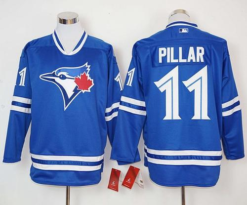 Blue Jays #11 Kevin Pillar Blue Long Sleeve Stitched MLB Jersey